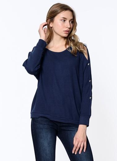 Uzun Kollu Tişört-Mavi